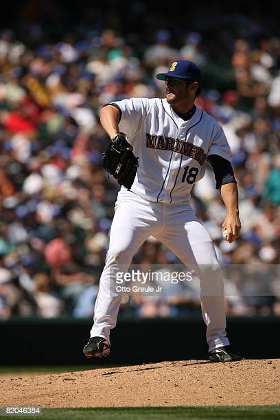 Ryan Rowland-Smith of the Seattle Mariners pitches against the Cleveland Indians on July 19, 2008 at Safeco Field in Seattle, Washington.