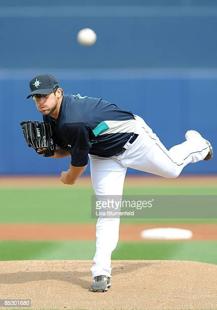 Ryan RowlandSmith of the Seattle Mariners pitches during a Spring Training game against the Arizona Diamondbacks at Peoria Stadium on March 8 2009 in...