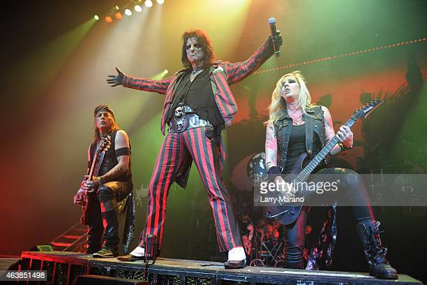 Ryan Roxie, Alice Cooper and Nita Strauss of the Alice Cooper Band perform at Hard Rock Live! in the Seminole Hard Rock Hotel & Casino on February...