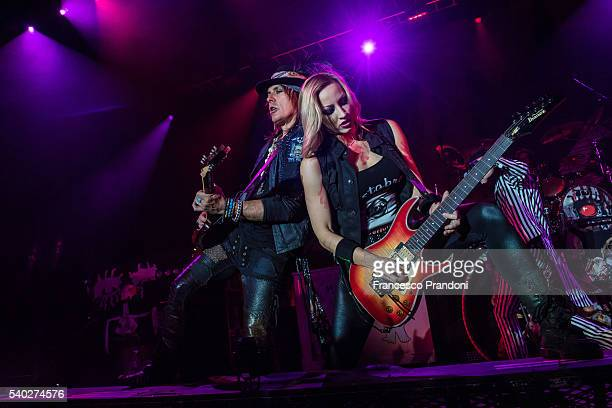Ryan Roxie and Nita Strauss of Alice Cooper's band perform in Milan on June 14, 2016 in Milan, Italy.