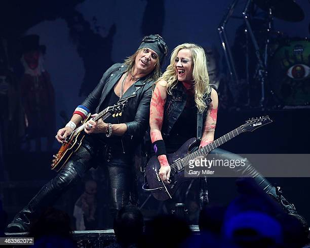 Ryan Roxie and Nita Strauss perform in concert with Alice Cooper at ACL Live on February 12 2015 in Austin Texas