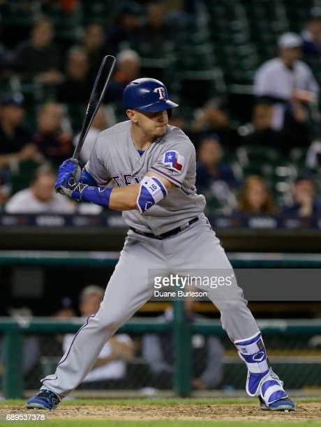 Ryan Rua of the Texas Rangers bats against the Detroit Tigers at Comerica Park on May 21 2017 in Detroit Michigan