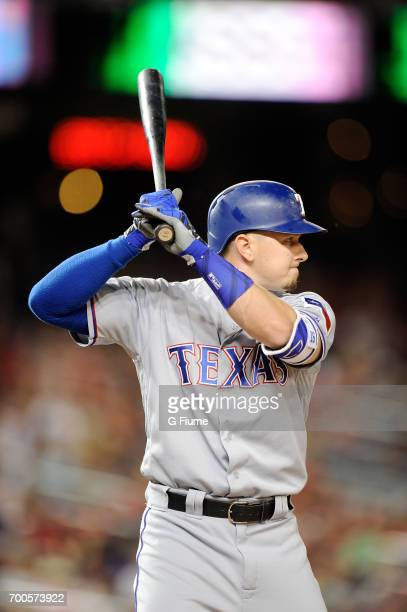 Ryan Rua of the Texas Rangers bats against the Washington Nationals at Nationals Park on June 9 2017 in Washington DC