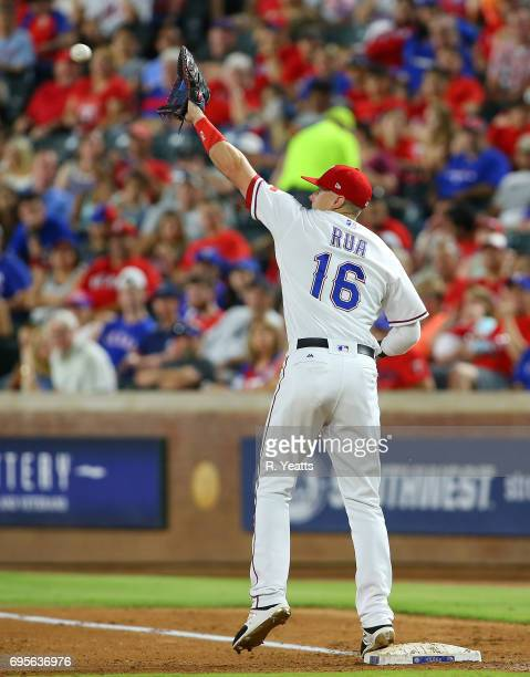 Ryan Rua of the Texas Rangers in action in the seventh inning against the New York Mets at Globe Life Park in Arlington on June 7 2017 in Arlington...