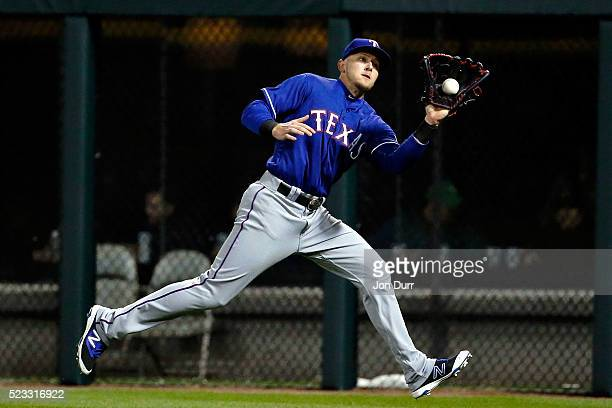 Ryan Rua of the Texas Rangers makes a catch for an out against the Chicago White Sox during the fourth inning at US Cellular Field on April 22 2016...