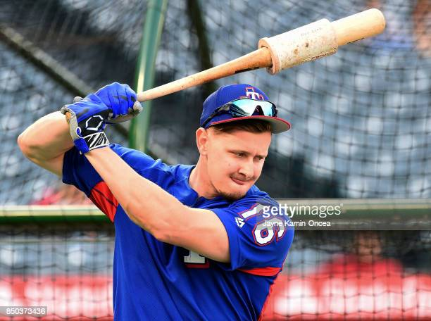Ryan Rua of the Texas Rangers takes batting practice before the game against the Los Angeles Angels of Anaheim at Angel Stadium of Anaheim on...