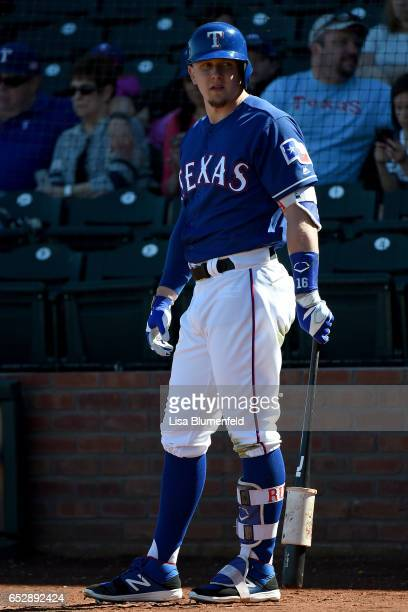 Ryan Rua of the Texas Rangers waits on deck against the Colorado Rockies on March 7 2017 in Surprise Arizona