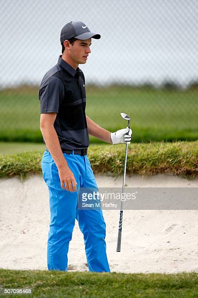 Ryan Ruffels of Australia hits balls on the practice range during practice for the Farmers Insurance Open at Torrey Pines on January 27 2016 in San...