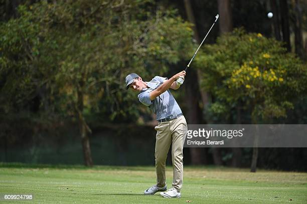 Ryan Ruffels of Australia hits from the third hole fairway during practice for the PGA TOUR Latinoamerica Copa Diners Club International at Quito...