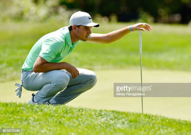 Ryan Ruffels of Australia lines up a putt on the second hole during the final round of the RBC Canadian Open at Glen Abbey Golf Club on July 30 2017...