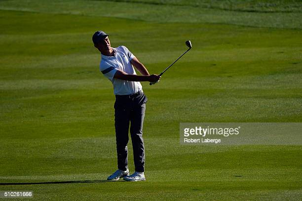 Ryan Ruffels of Australia plays a shot from the fourth fairway during the final round of the ATT Pebble Beach National ProAm at the Pebble Beach Golf...