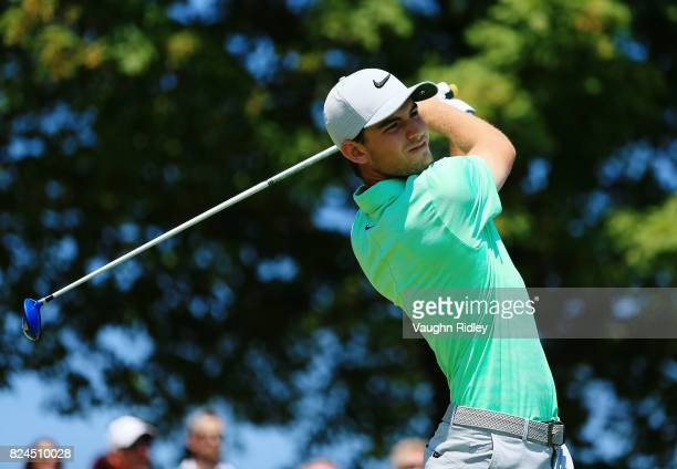 Ryan Ruffels of Australia plays his shot from the first tee during the final round of the RBC Canadian Open at Glen Abbey Golf Club on July 30 2017...