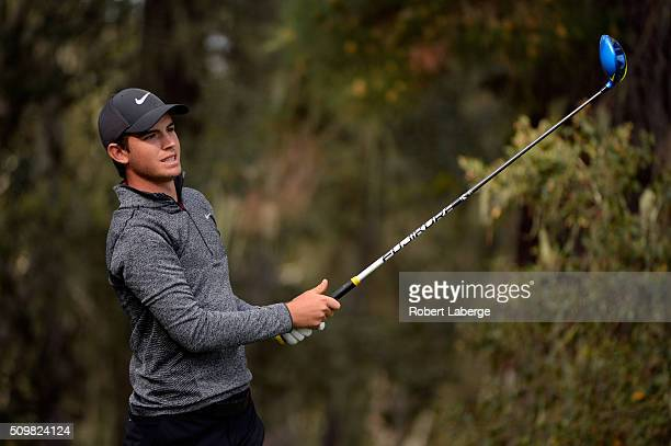 Ryan Ruffels of Australia plays his tee shot on the 13th hole during the second round of the ATT Pebble Beach National ProAm at the Spyglass Hill...