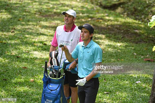 Ryan Ruffels of Australia prepares to chip up to the eighth green during the third round of the PGA TOUR Latinoamerica Colombia Classic at Club...