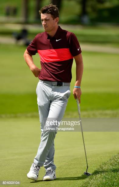 Ryan Ruffels of Australia waits to putt on the 18th hole during the second round of the RBC Canadian Open at Glen Abbey Golf Club on July 28 2017 in...