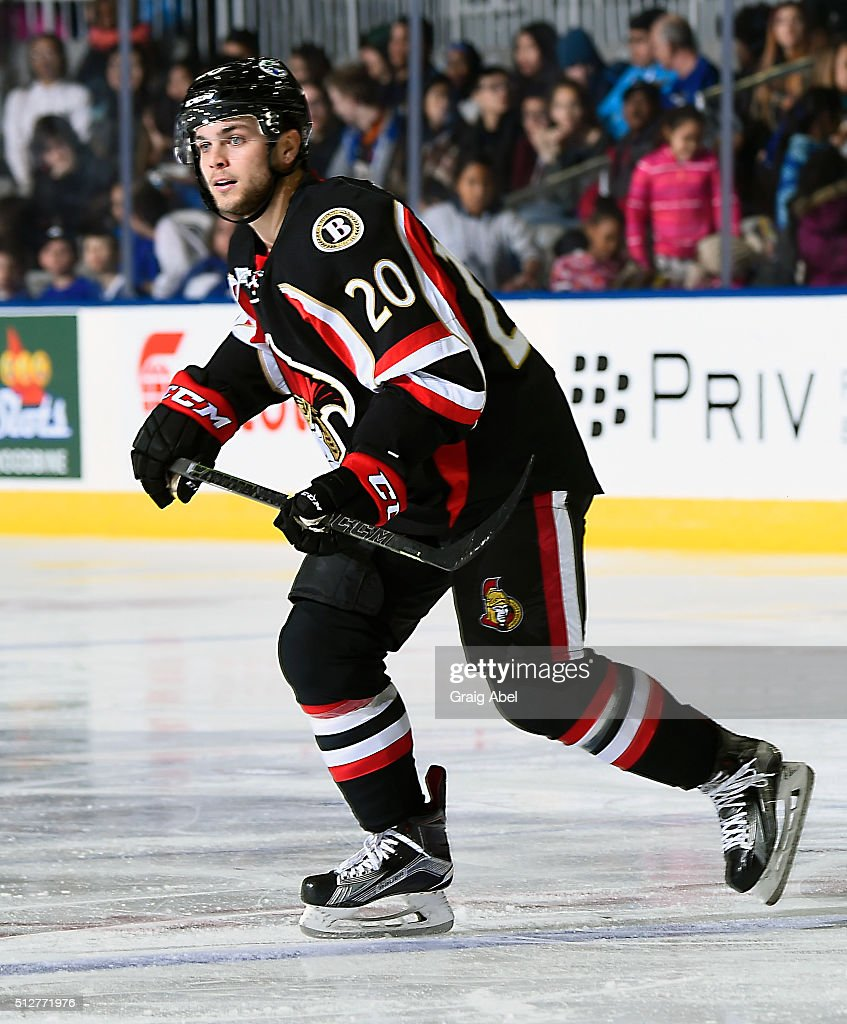 Ryan Rupert #20 of the Binghamton Senators turns up ice against the Toronto Marlies during AHL game action on February 24, 2016 at Ricoh Coliseum in Toronto, Ontario, Canada.