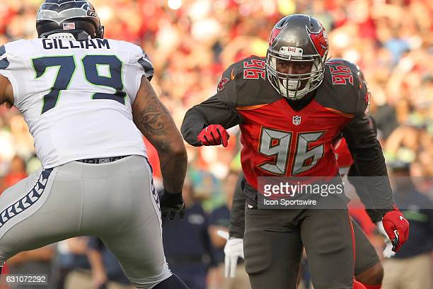 Ryan Russell of the Buccaneers rush the passer during the NFL Game between the Seattle Seahawks and Tampa Bay Buccaneers on November 27 at Raymond...