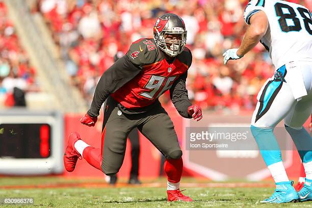 Ryan Russell of the Buccaneers rushes the passer during the NFL Game between the Carolina Panthers and Tampa Bay Buccaneers on January 01 at Raymond...