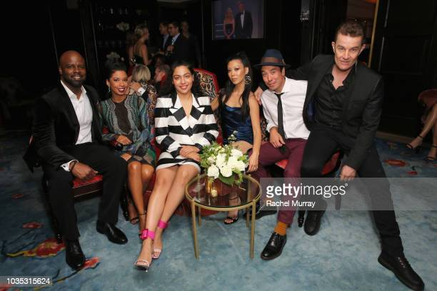 Ryan Sands Angel Parker Allegra Acosta Brittany Ishibashi James Yaegashi and James Marsters attend Hulu's 2018 Emmy Party at Nomad Hotel Los Angeles...