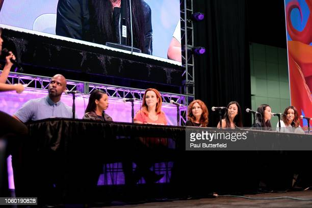Ryan Sands Angel Parker Annie Wersching Brigid Brannagh Brittany Ishibashi Lyrica Okano and Ariela Barer attend the 'Runaways' panel during Los...