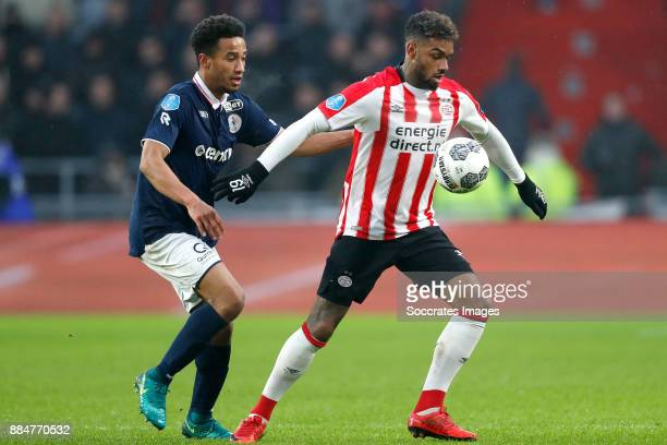 Ryan Sanusi of Sparta Rotterdam Jurgen Locadia of PSV during the Dutch Eredivisie match between PSV v Sparta at the Philips Stadium on December 3...