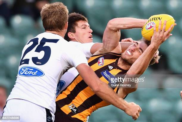 Ryan Schoenmakers of the Hawks marks during the 2017 JLT Community Series match between the Hawthorn Hawks and the Geelong Cats at University of...