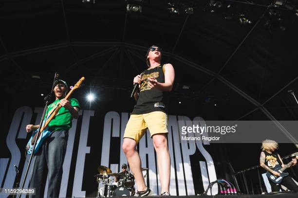Ryan Scott Graham and Derek DiScanio of State Champs perform on stage during day 3 of Download festival 2019 at La Caja Magica on June 30 2019 in...