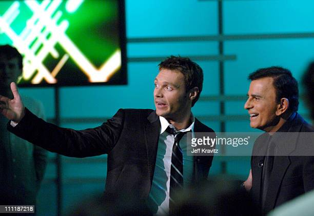 "Ryan Seacrest and Casey Kasem during ""America's Top 40 Live"" with Ryan Seacrest at CBS Studios Stage 46 in Los Angeles, California, United States."