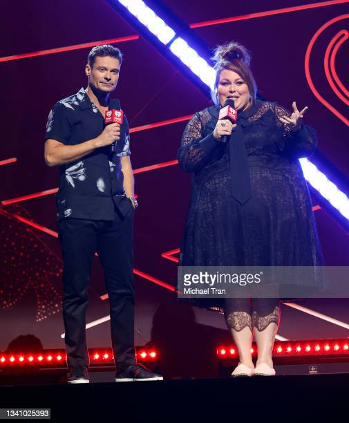 Ryan Seacrest and Chrissy Metz speak onstage during the 2021 iHeartRadio Music Festival - Night One held at T-Mobile Arena on September 17, 2021 in...