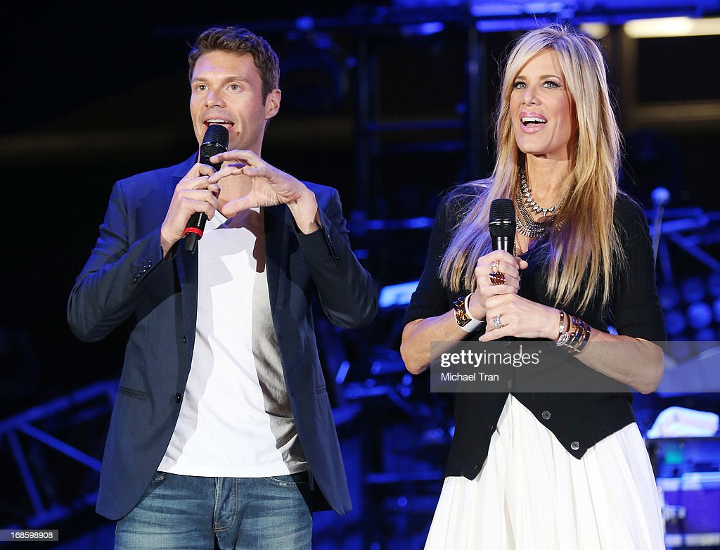 Ryan Seacrest (L) and Ellen K speak onstage during the 2013 KIIS FM's Wango Tango held at The Home Depot Center on May 11, 2013 in Carson, California.