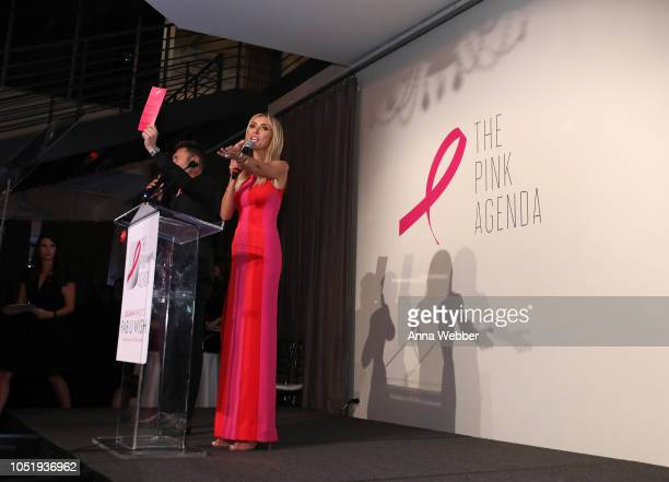 Ryan Seacrest and Giuliana Rancic speak onstage at The Pink Agenda's Annual Gala at Tribeca Rooftop on October 11 2018 in New York City
