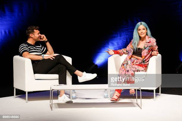 Ryan Seacrest and Grammy nominated singer and songwriter Halsey speaks during the Cannes Lions Festival 2017 on June 20 2017 in Cannes France