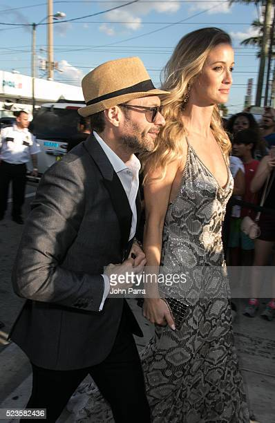 Ryan Seacrest and Hilary Cruz attend David Grutman's and model Isabela Rangel wedding in Wynwood Wall on April 23 2016 in Miami Florida