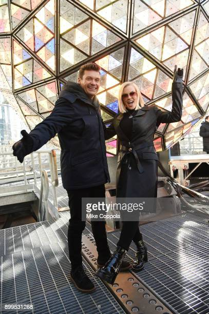 Ryan Seacrest and Jenny McCarthy attend Dick Clark's new year's rockin' eve 2018 press junket at Times Square on December 29 2017 in New York City