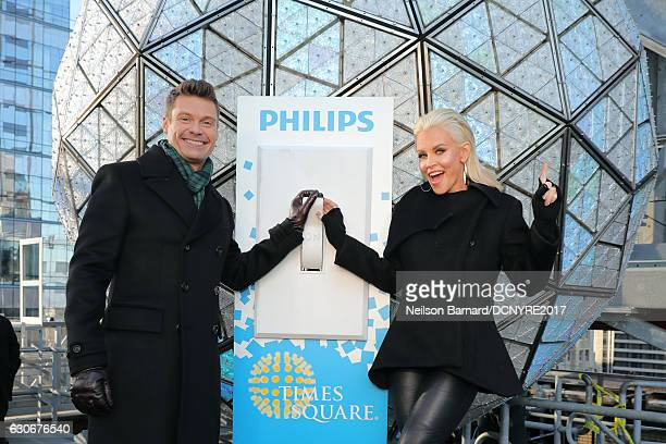 Ryan Seacrest and Jenny McCarthy attend the Dick Clark's New Year's Rockin' Eve 2017 Press Junket at Times Square Broadway Plaza on December 30 2016...