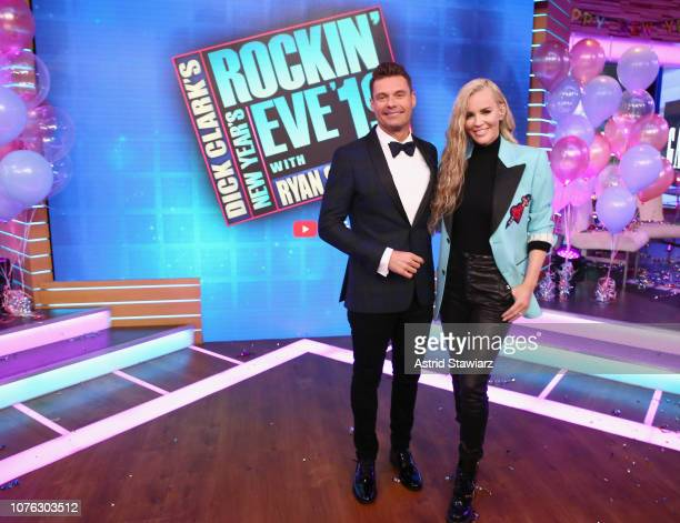 Ryan Seacrest and Jenny McCarthy on stage during Dick Clark's New Year's Rockin' Eve With Ryan Seacrest 2019 on December 31 2018 in New York City