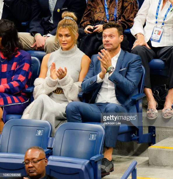 Ryan Seacrest and Shayna Taylor at the 2018 US Open Men's Championship game on September 9 2018 in New York City
