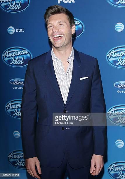 Ryan Seacrest arrives at American Idol Season 12 premiere event held at Royce Hall UCLA on January 9, 2013 in Westwood, California.