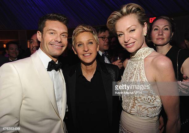 Ryan Seacrest Ellen DeGeneres and Portia de Rossi attend the 2014 Vanity Fair Oscar Party Hosted By Graydon Carter on March 2 2014 in West Hollywood...