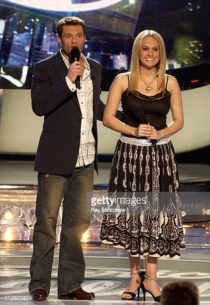 Ryan Seacrest host and American Idol Season 4 Top 5 Finalist Carrie Underwood from Checotah Oklahoma