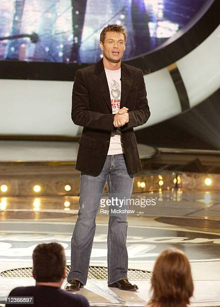 Ryan Seacrest host during 'American Idol' Season 4 Performance Show May 17 2005 at American Idol Studio in Los Angeles California United States