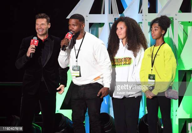 Ryan Seacrest Jamie Foxx and guests speak onstage during 1027 KIIS FM's Jingle Ball 2019 Presented by Capital One at the Forum on December 6 2019 in...