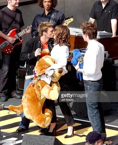 Ryan Seacrest Kelly Clarkson and Clay Aiken during OnAir with Ryan Seacrest Featuring Kelly Clarkson and Clay Aiken at Hollywood and Highland in...