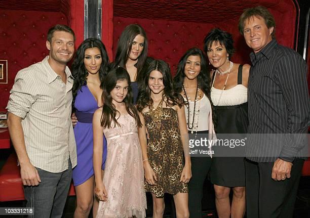 Ryan Seacrest, Kim Kardashian, Kylie Jenner, Khloe Kardashian, Kendall Jenner, Kourtney Kardashian, Kris Jenner and Bruce Jenner pose for a photo at...
