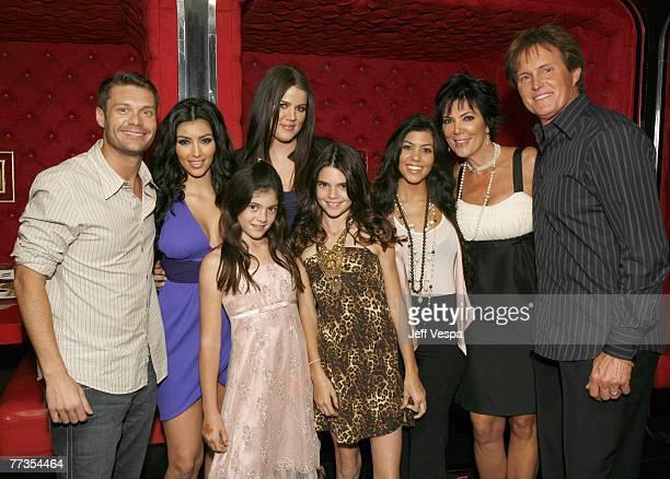 Ryan Seacrest Kim Kardashian Kylie Jenner Khloe Kardashian Kendall Jenner Kourtney Kardashian Kris Jenner and Bruce Jenner pose for a photo at the...