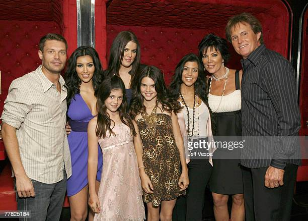 Ryan Seacrest Kim Kardashian Kylie Jenner Khloe Kardashian Kendall Jenner Kourtney Kardashian Kris Jenner and Bruce Jenner pose for a photo at the...