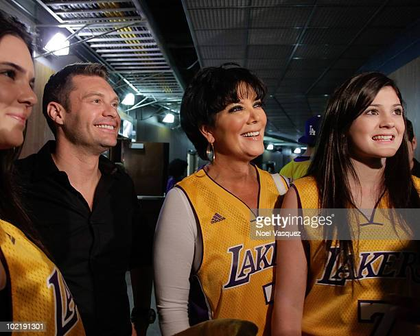 Ryan Seacrest Kris Jenner and Kylie Jenner attend Game Seven of the NBA playoff finals between the Boston Celtics and the Los Angeles Lakers during...
