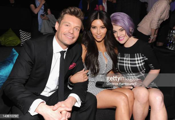 Ryan Seacrest of 'E News' Kim Kardashian of 'Keepiing Up With The Kardashians' and Kelly Osbourne of 'Fashion Police' attend E 2012 Upfront at NYC...