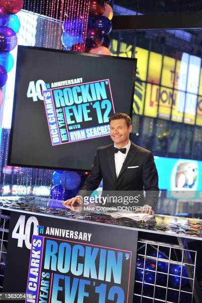 Ryan Seacrest performs onstage during Dick Clark's New Year's Rockin' Eve with Ryan Seacrest 2012 at Times Square on December 31 2011 in New York City