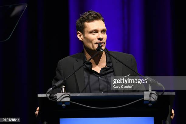 Ryan Seacrest presents welcome remarks at the 11th Annual Exploring the Arts Gala hosted by Tony Bennett and Susan Benedetto at The Ziegfeld Ballroom...
